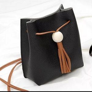 Handbags - Black leather mini crossbody bucket bag
